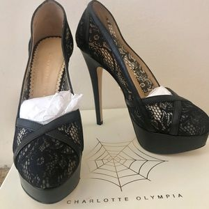 Charlotte Olympia Black Lace Pumps